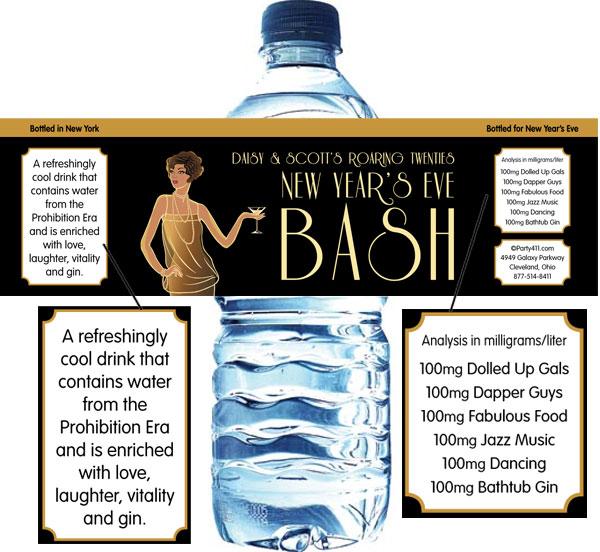 Roaring 20s Water Bottle Label