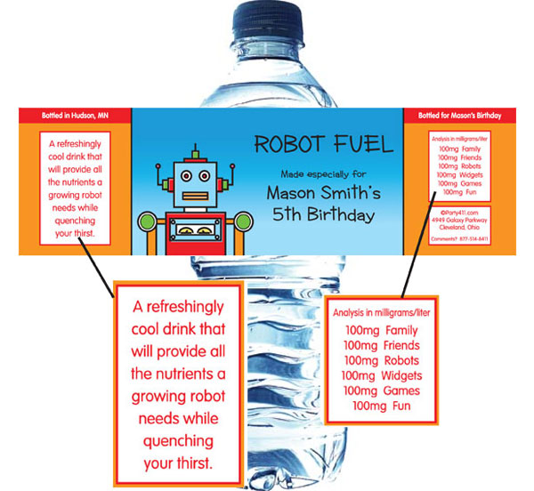 Robots Water Bottle Label / Robots need plenty of water