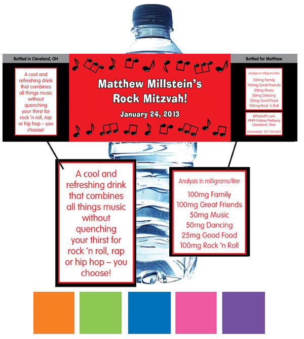 Rock n Roll Water Bottle Label / Perfect for a Rock N' Roll Themed Party!