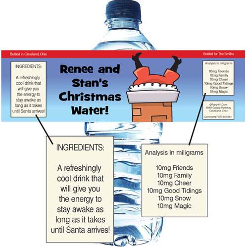 Christmas Santa Oops! Water Bottle Label / You're guests will get a kick out of this fun personalized label
