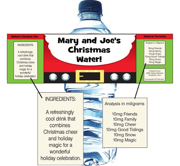 Christmas Santa Suit Water Bottle Label / Add a personalized Christmas label to your water
