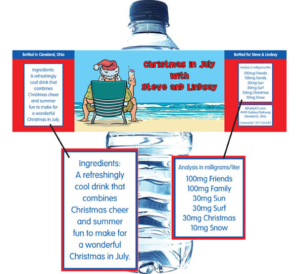 Christmas in July Water Bottle Label / The theme water bottle label will serve as a great party favor