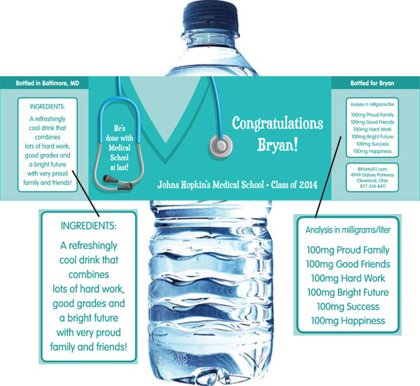 Graduation Scrubs Theme Water Bottle Label / Celebrate your graduation with this scrubs theme personalized favor!