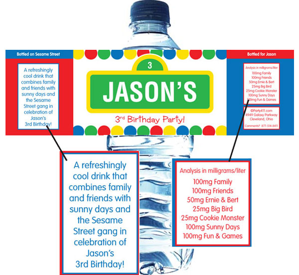 Birthday Sesame Street Theme Water Bottle Label