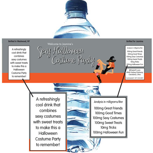 Halloween Sexy Party Water Bottle Label / This sexy Halloween theme water bottle label will quench all thirst