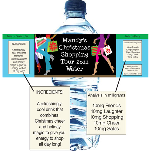 Christmas Shopping Water Bottle Label
