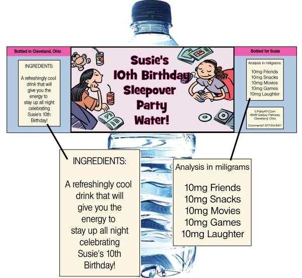 Sleepover Friends Theme Bottle Label