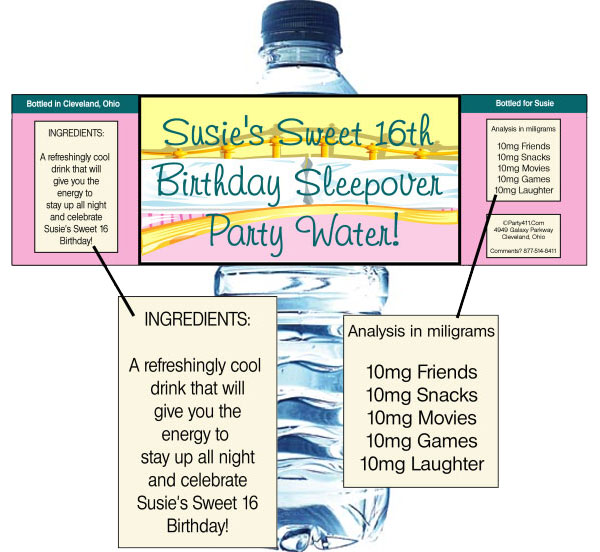 Sleepover Water Bottle Label / Pass out personalized water bottles at your sleepover