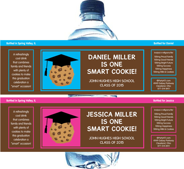 Graduation Smart Cookie Theme Water Bottle Label