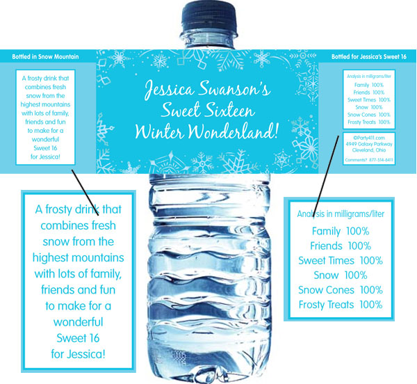 Snow Theme Water Bottle Label / Serve your guests bottled water with winter theme bottle labels.