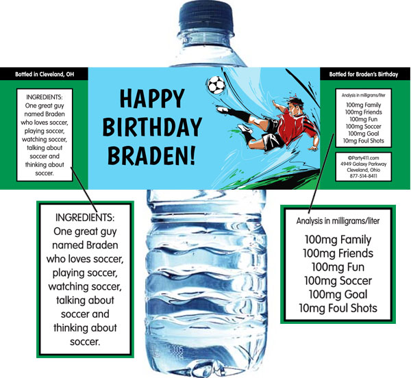 Soccer Boy Water Bottle Label