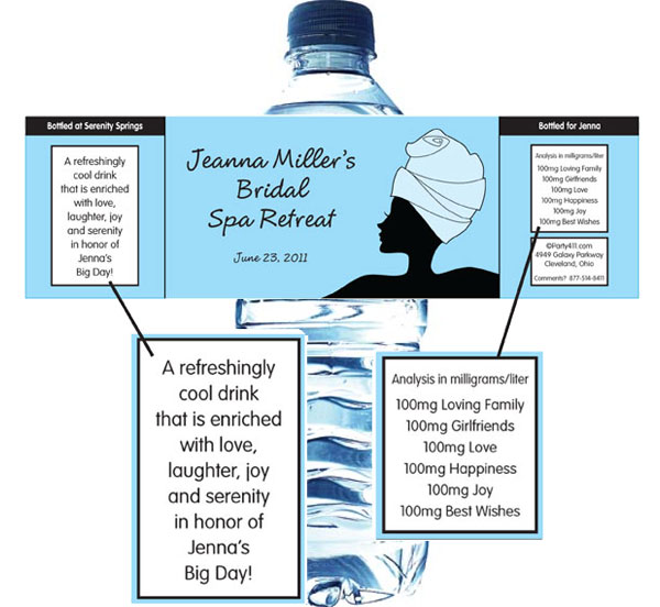 Bridal Spa Water Bottle Label / A bridal shower water bottle label favor