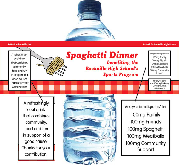 Spaghetti Theme Water Bottle Label