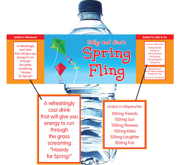 Flying Kites Water Bottle Label / Flying kites, what better way to celebrate spring than with these Spring Themed water bottle labels.