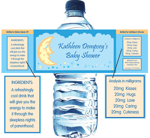 Baby Shower Stars and Moons Water Bottle Label / Put out water with personalized labels at each seat