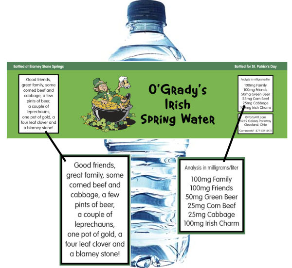 St. Patrick's Day Leprechauns Theme Water Bottle Label