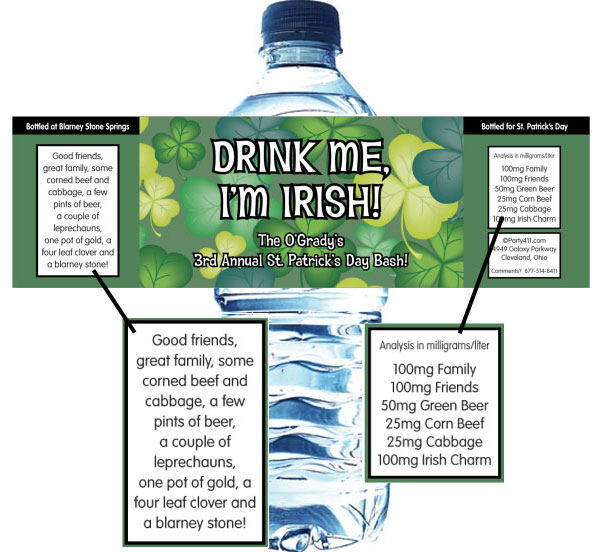 St. Patrick's Day Green Shamrocks Theme Bottle Label, Water