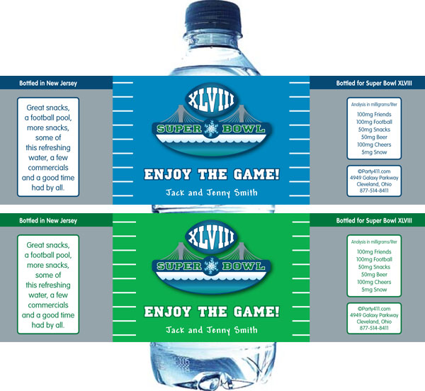 2014 SuperBowl XLVIII Water Bottle Label / This water bottle label is great for your Super Bowl XLVIII party
