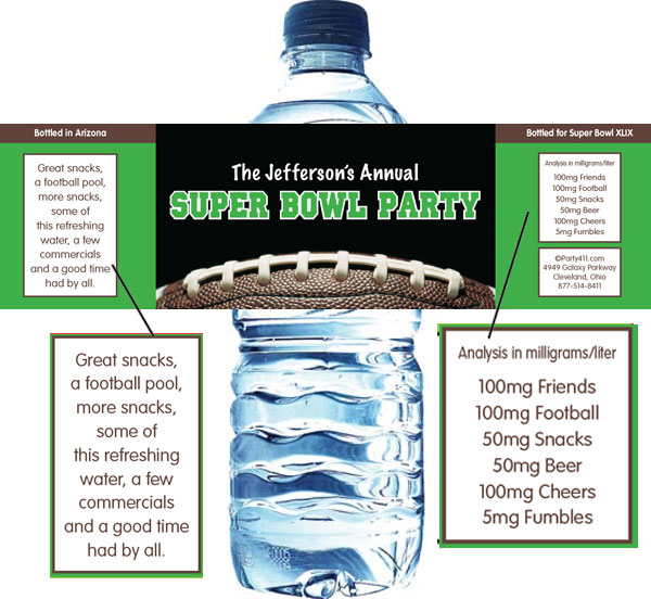 Football Party Water Bottle Label / Wrap your water bottles with this great Super Bowl label!