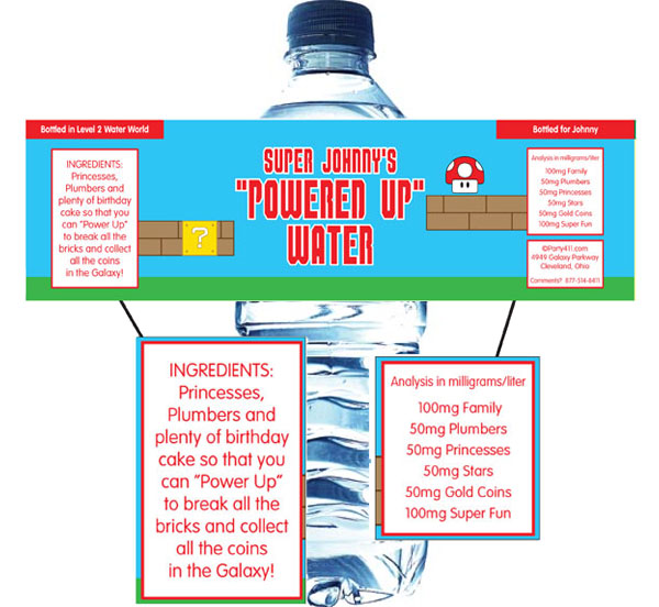Birthday Super Mario Brothers Water Bottle Label / Your guests will be thirsty during your Super Marios theme party