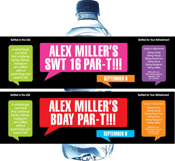 Texting Water Bottle Label
