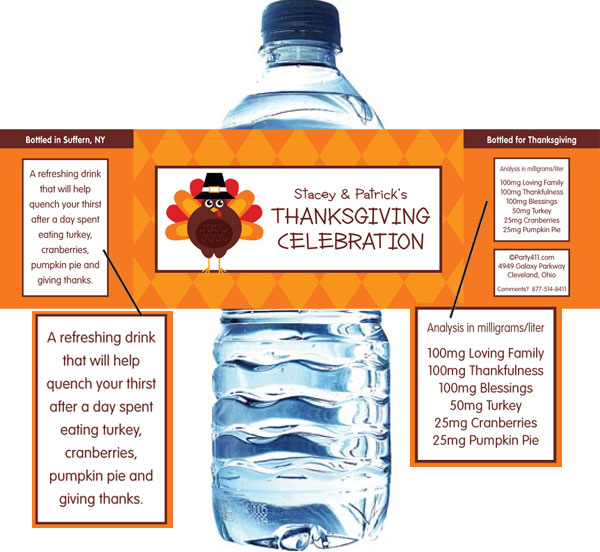 Thanksgiving Celebration Water Bottle Label