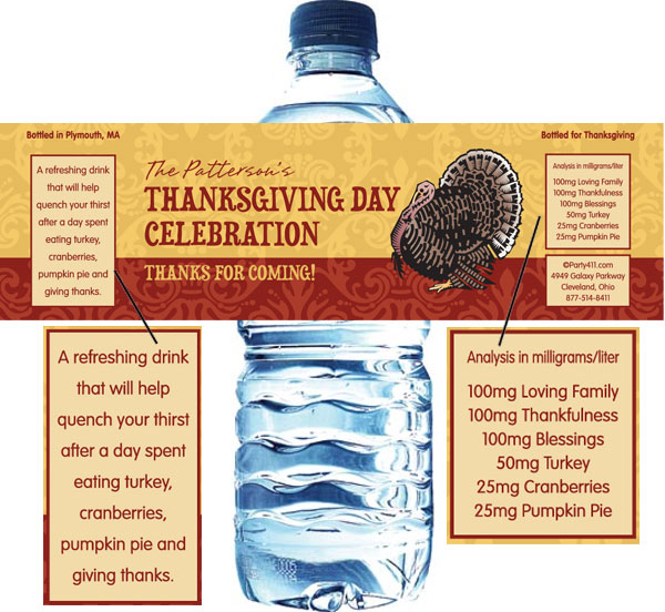 Thanksgiving Turkey Water Bottle Label
