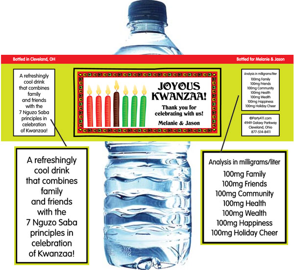 Kwanzaa Kinara Water Bottle Label