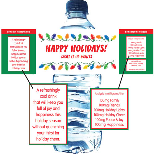 Christmas Lights Water Bottle Label / A fun Christmas lights theme water bottle label