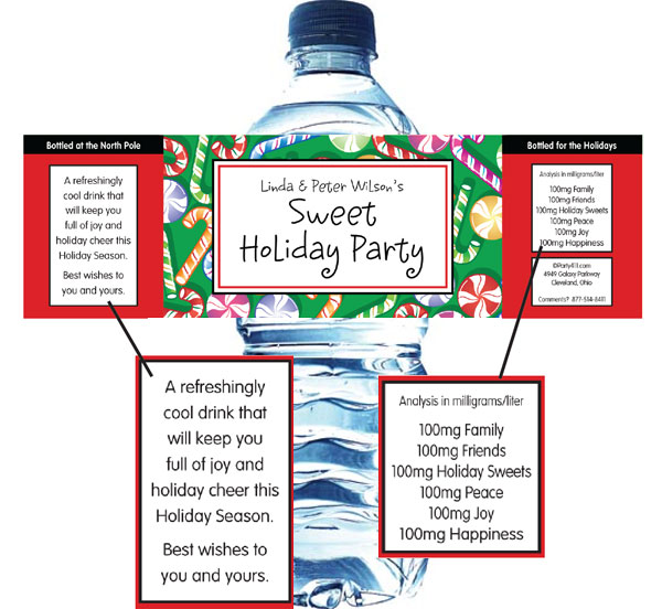 Christmas Candy Water Bottle Label / This custom water will help you wash down all the candy