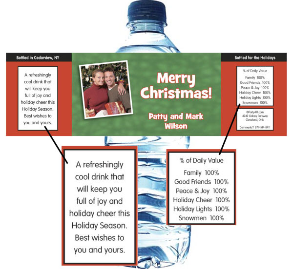 Christmas Photo Water Bottle Label / The theme label will be a welcome party favor