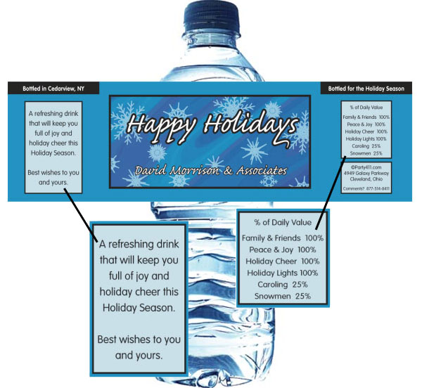 Winter Snow Water Bottle Label / Holiday theme water bottle labels make for a great party favor