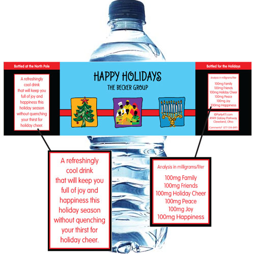 Winter Holidays Trio Water Bottle Label / A holiday theme water bottle labels