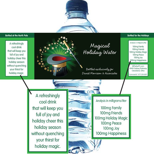 Holiday Magic Water Bottle Label / Perfect for each place at the table