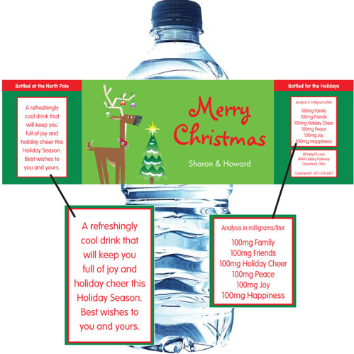 Christmas Reindeer Water Bottle Label / A Christmas theme water bottle label.
