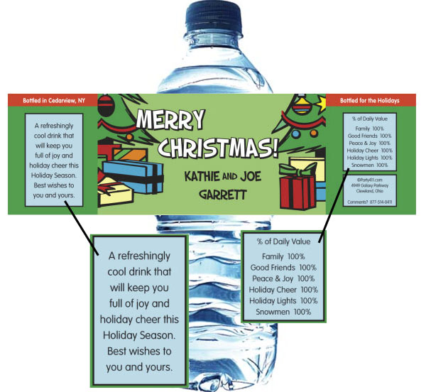Christmas Tree Water Bottle Label / This personalized water bottle label is a great party favor