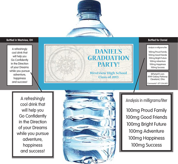 Graduation Travel Theme Water Label / A personalized graduation travel theme water bottle label