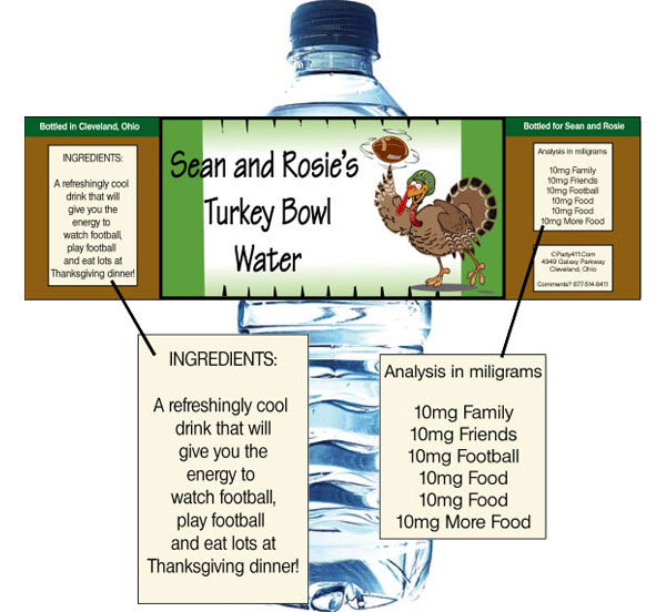 Thanksgiving Turkeybowl Water Bottle Label