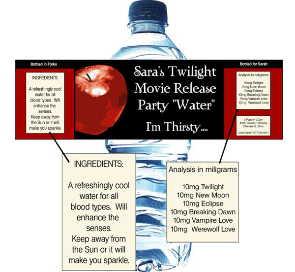 Twilight Water Bottle Labels / A personalized water bottle label perfect for your Twilight party