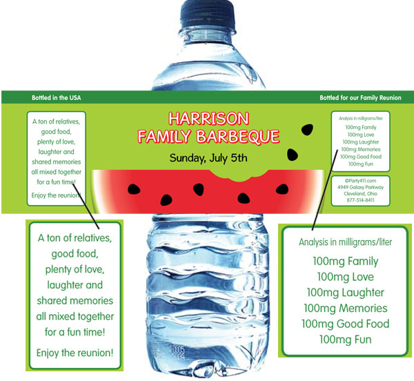 Watermelon Theme Water Bottle Label