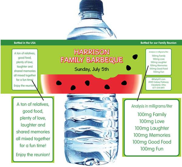 Watermelon Theme Water Bottle Label