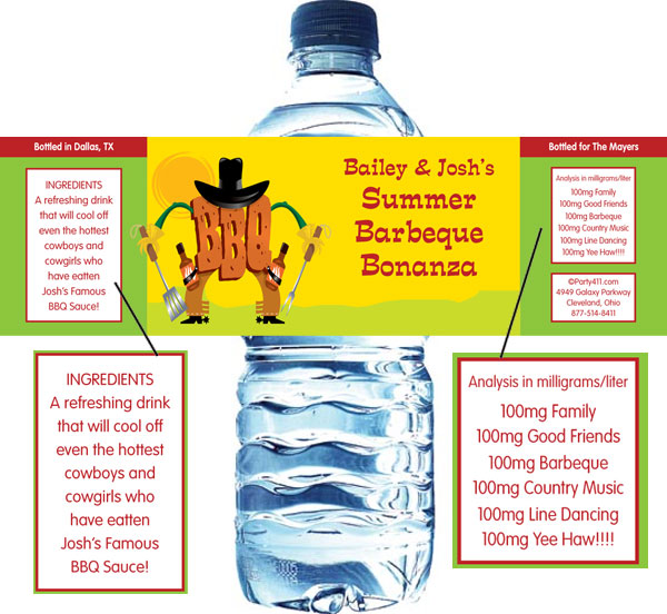 BBQ Western Water Bottle Label