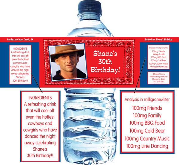 Western Bandana Photo Water Bottle Label / Personalize your western party with a custom water label