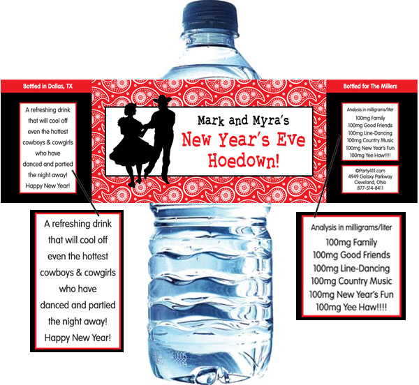 Western Hoedown Water Bottle Label
