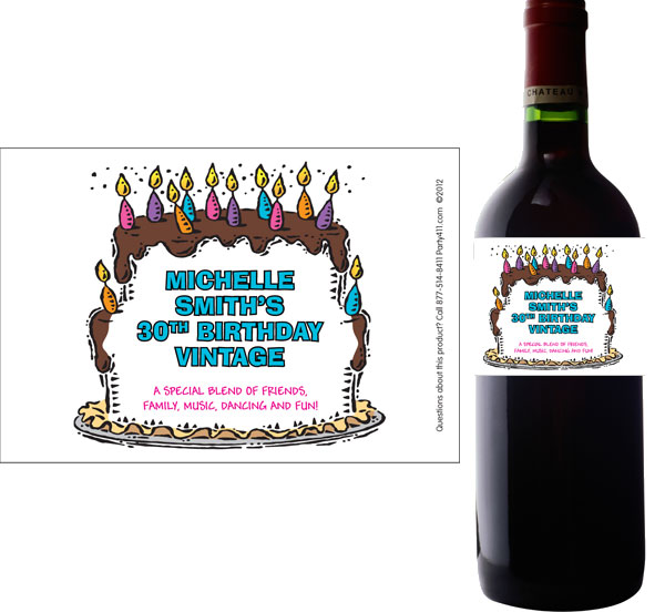 Birthday Cake For Her Wine Bottle Label