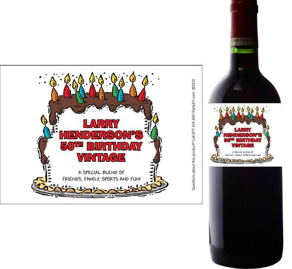 Birthday Cake For Him Wine Champagne Bottle Label