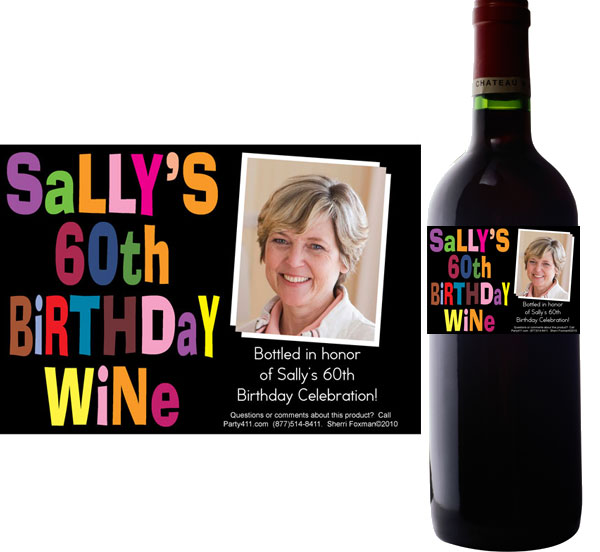 Birthday Celebration Wine Champagne Bottle Label