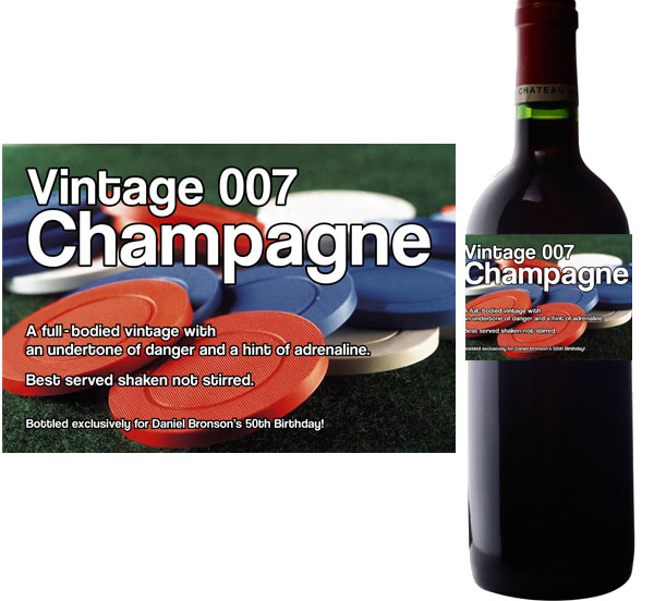 Casino Chips Wine Champagne Bottle Label