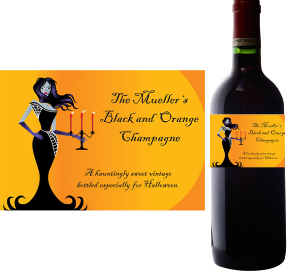 Halloween Ball Wine Bottle Label / Let your wine and champagne bottles match your Halloween theme
