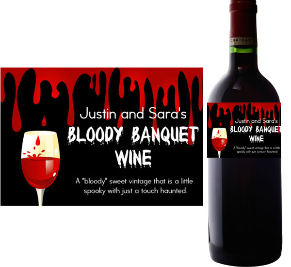 Halloween Bloody Banquet Wine Bottle Label / This bloody label is a great touch for your wine bottle